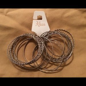 Afaze Silver Tone Bangle Bracelet Set
